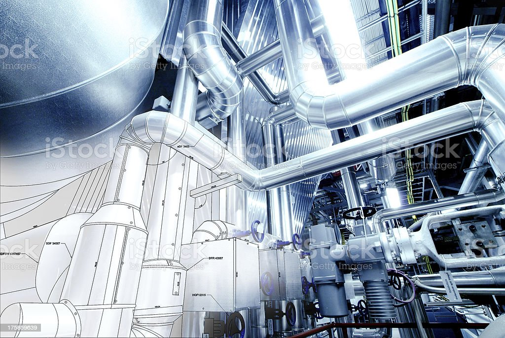 Sketch of piping mixed with industrial equipment photo stock photo