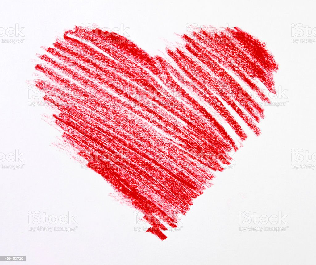 Sketch of Red Crayon Heart on White Background stock photo