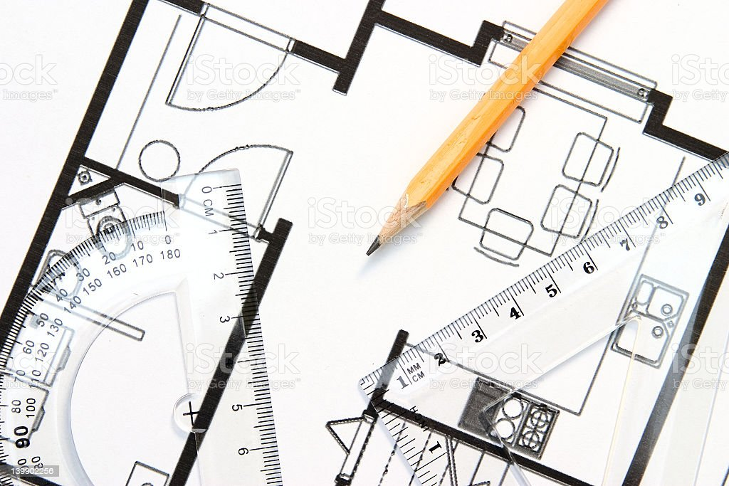 Sketch of the interior architecture of a house with pencil stock photo