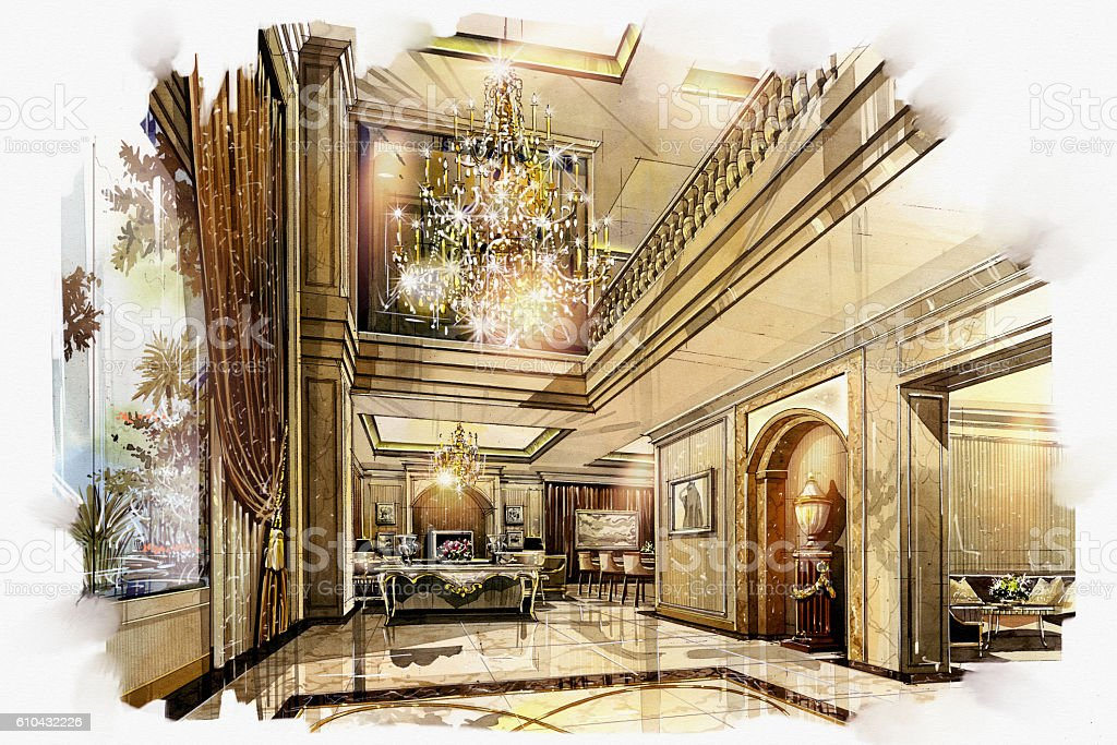 sketch perspective interior hall living -dinning stock photo