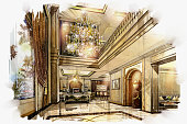 sketch perspective interior hall living -dinning