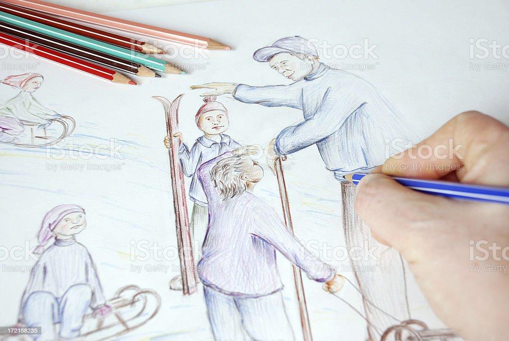Sketch - Sledge royalty-free stock photo
