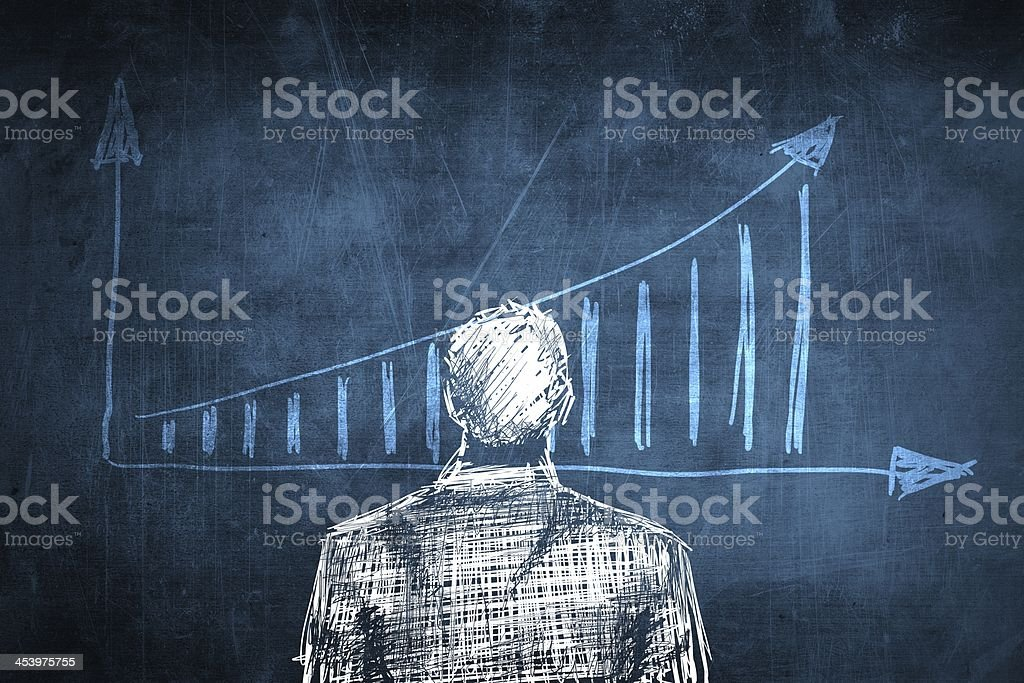 Sketch successful businessman concept, rising chart royalty-free stock photo