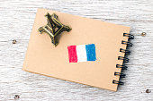 Sketchbook and miniature Eiffel tower