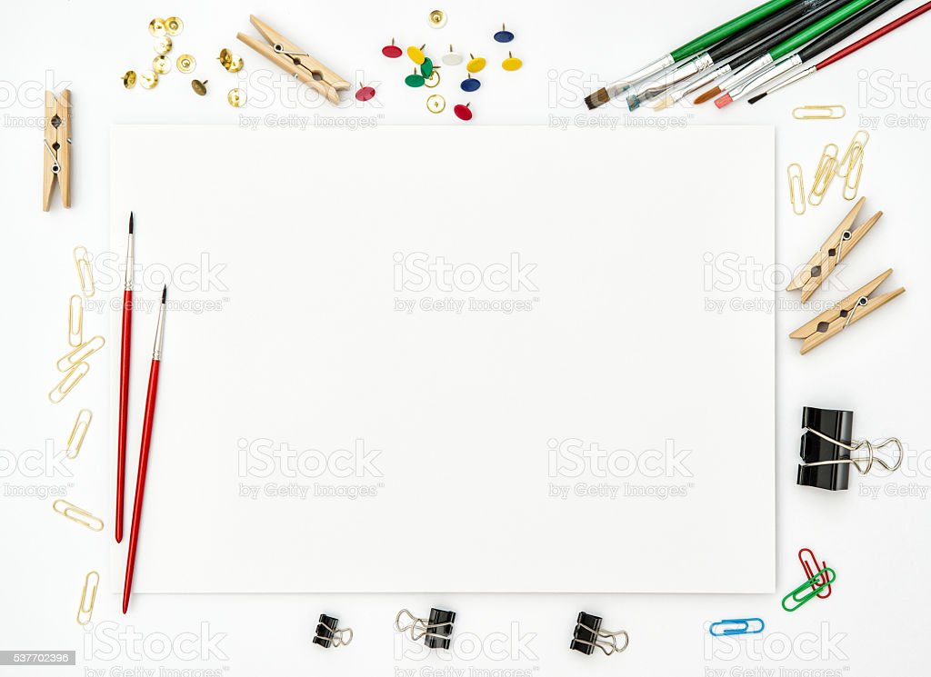 Sketchbook, brushes, paper, office supplies creative art stock photo