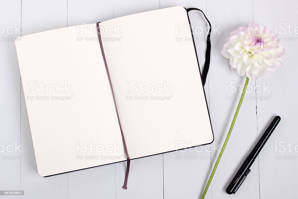 Sketchbook mockup with pen and flower stock photo