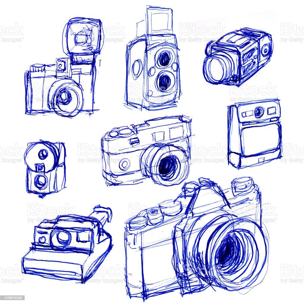 sketches cameras stock photo