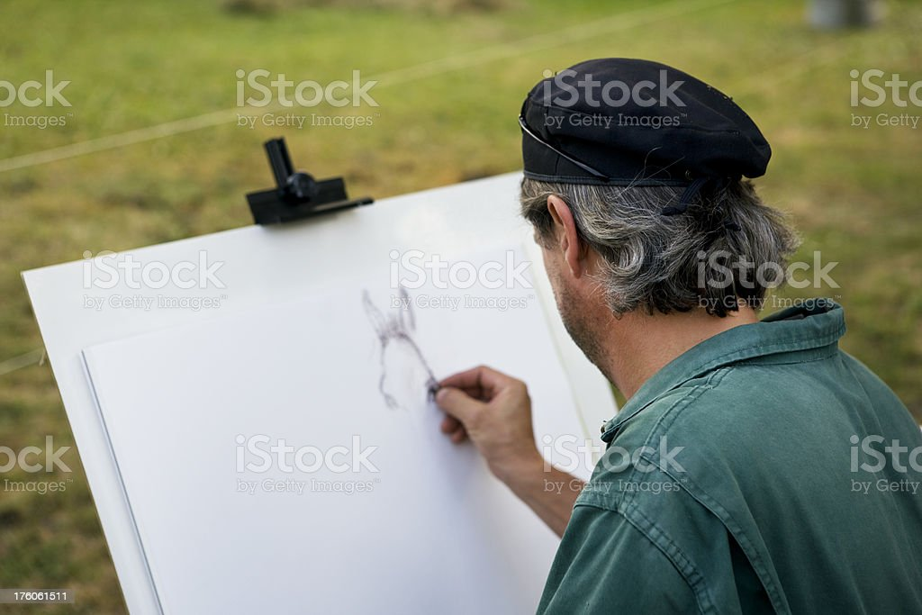 sketching artist royalty-free stock photo