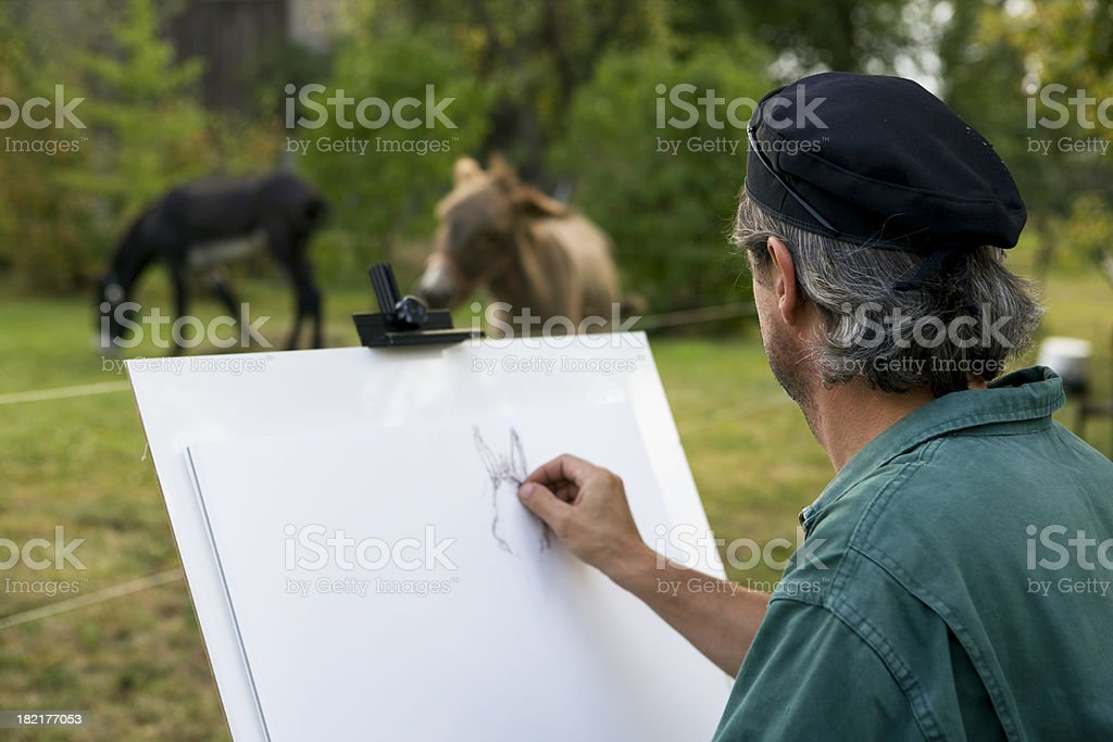 sketching artist royalty-free stock photo