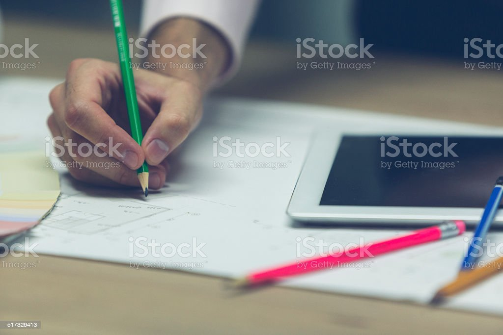 Sketching Blueprint. stock photo