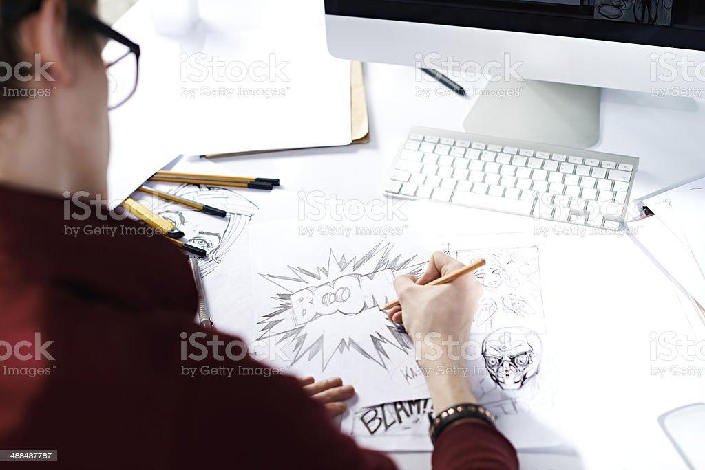 Sketching comic strip stock photo