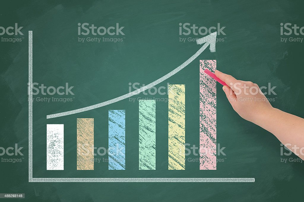 Sketching growth chart on chalkboard stock photo
