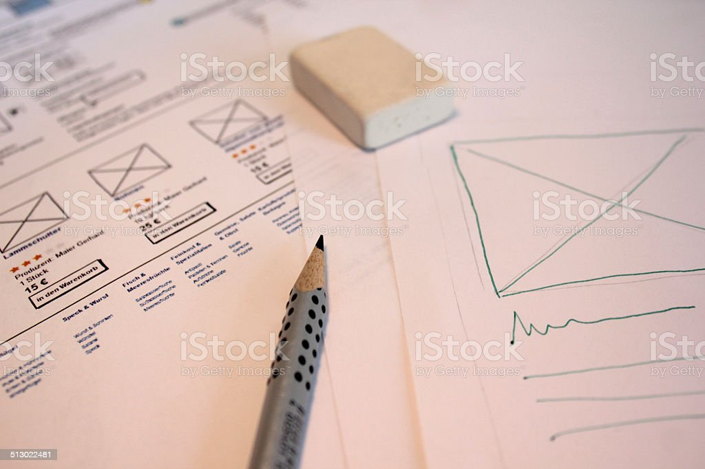 Sketching Interface for online shop stock photo