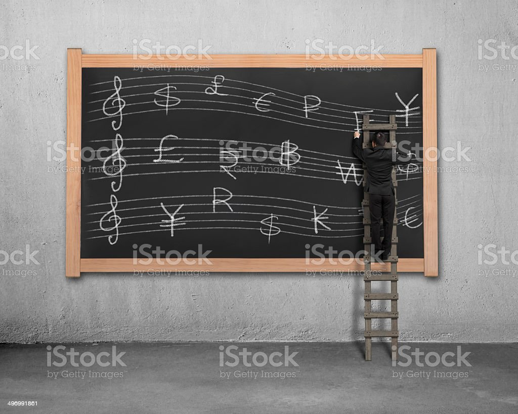 Sketching momey symbols Stave on blackboard royalty-free stock photo