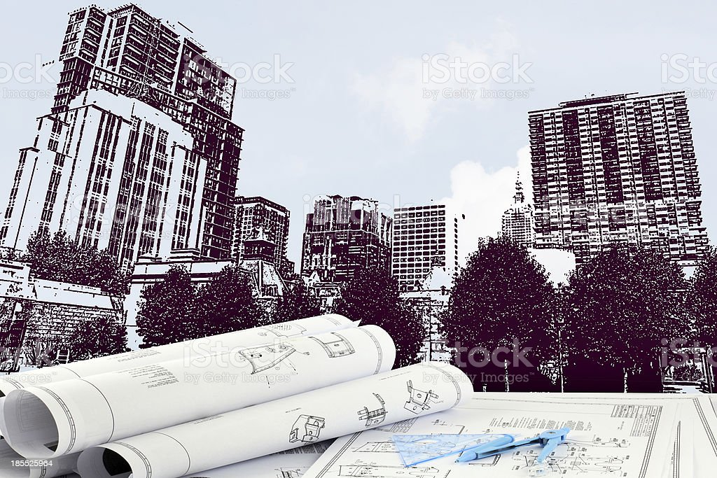 sketching of modern building royalty-free stock photo