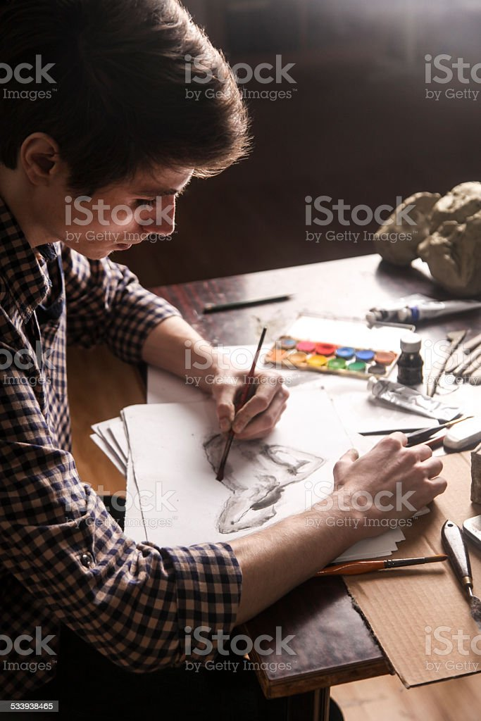 Sketching stock photo