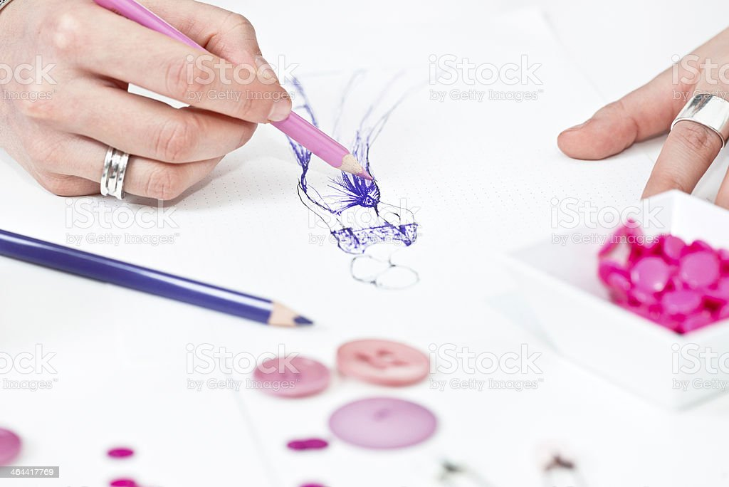Sketching prom dress stock photo