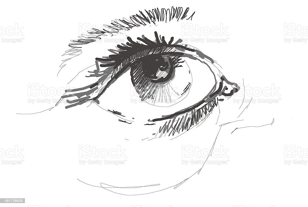 sketchy female eyes stock photo