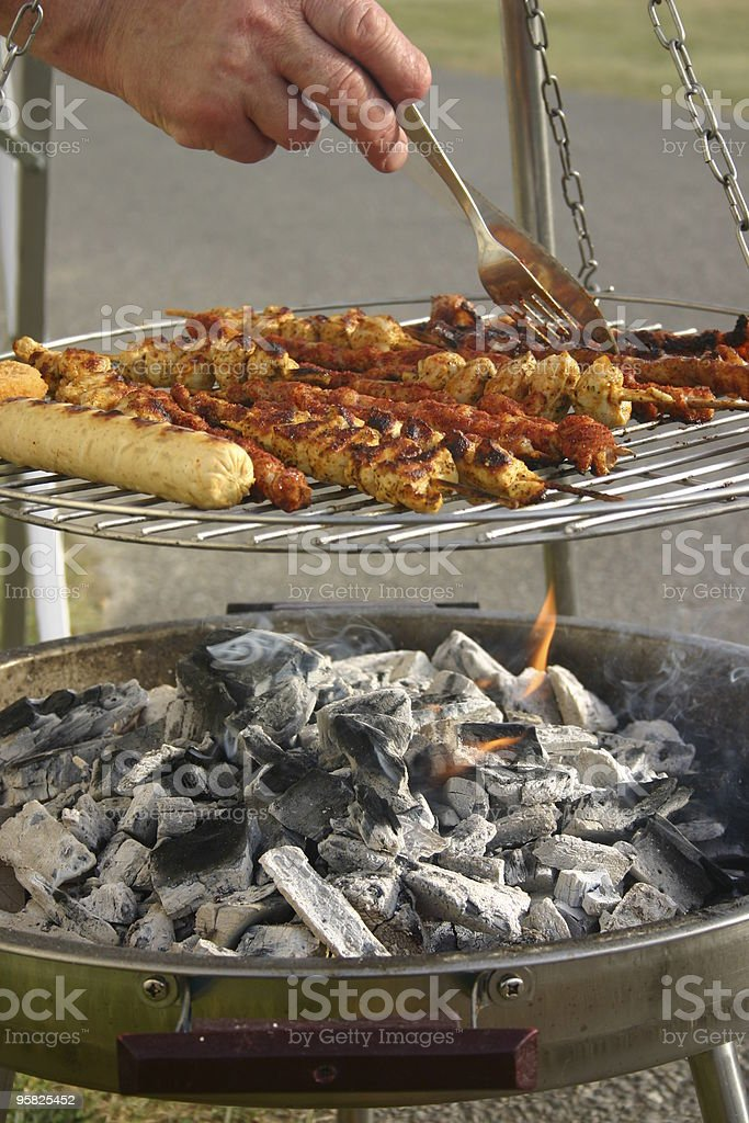Skewer on a grill stock photo
