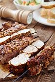 Skewered meat or shish kebabs of pork in marinade