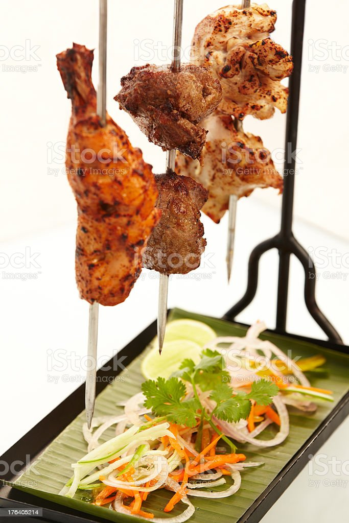 Skewered meat to delight the senses royalty-free stock photo