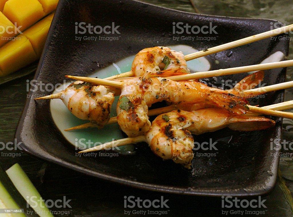Skewered Shrimp stock photo
