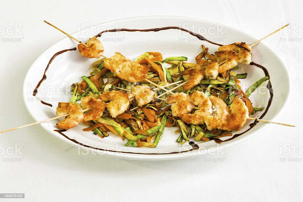 Skewered shrimp royalty-free stock photo