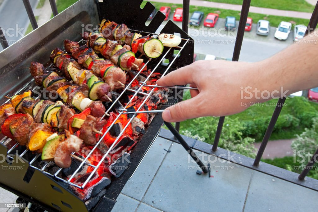Skewers grill stock photo