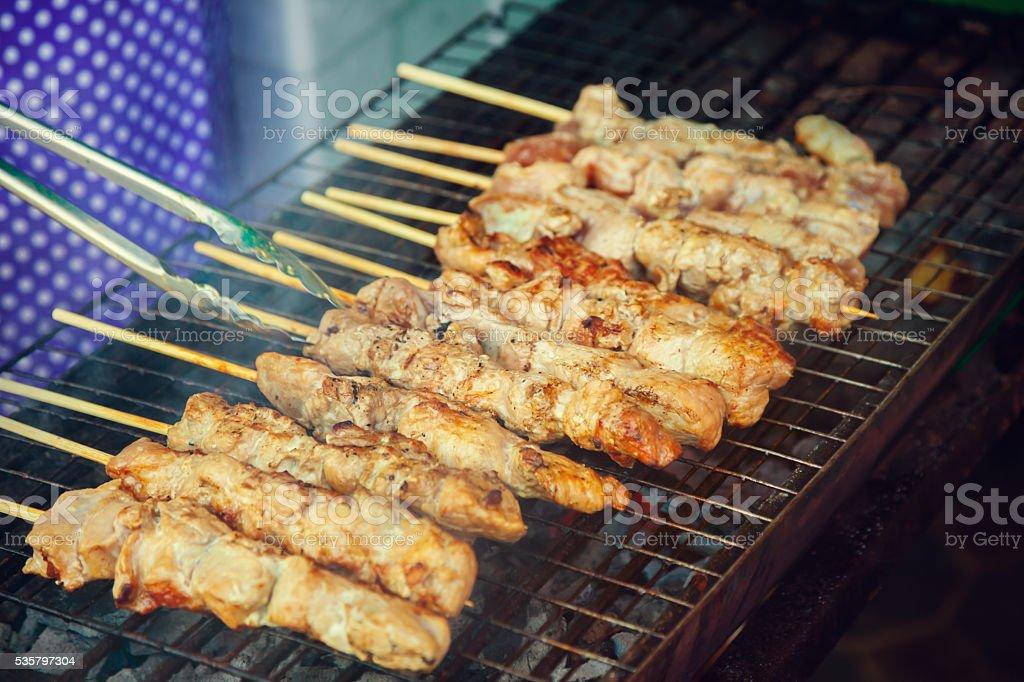 Skewers of meat stock photo