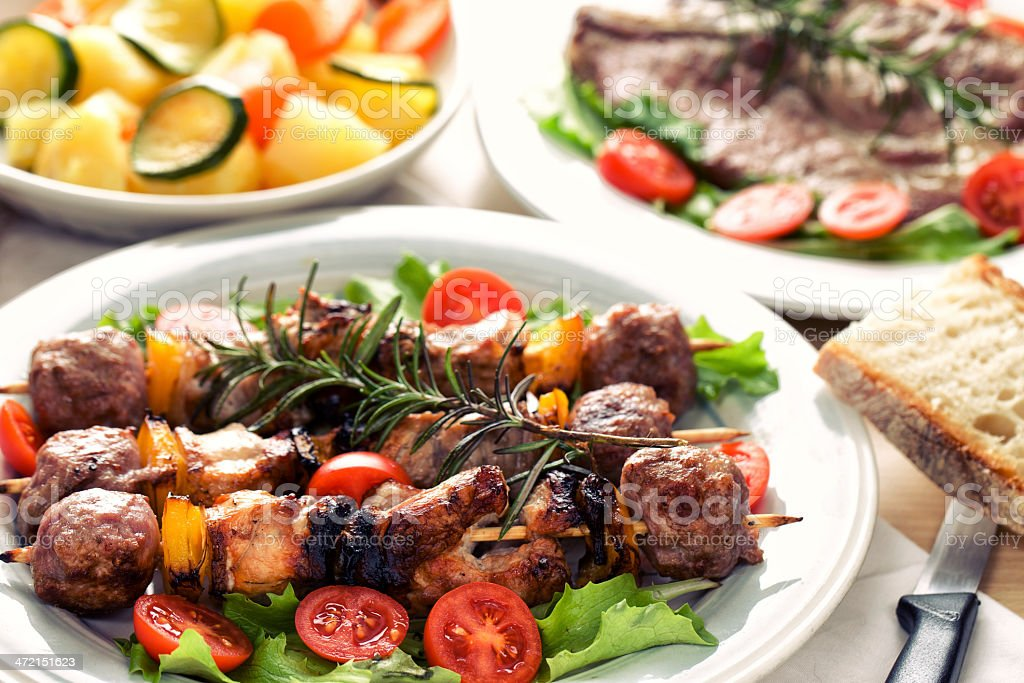 Skewers with vegetables stock photo