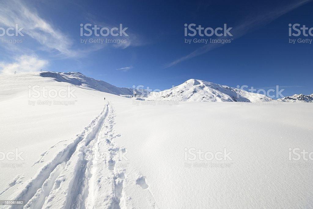 Ski alpinist in alpine winter scene royalty-free stock photo