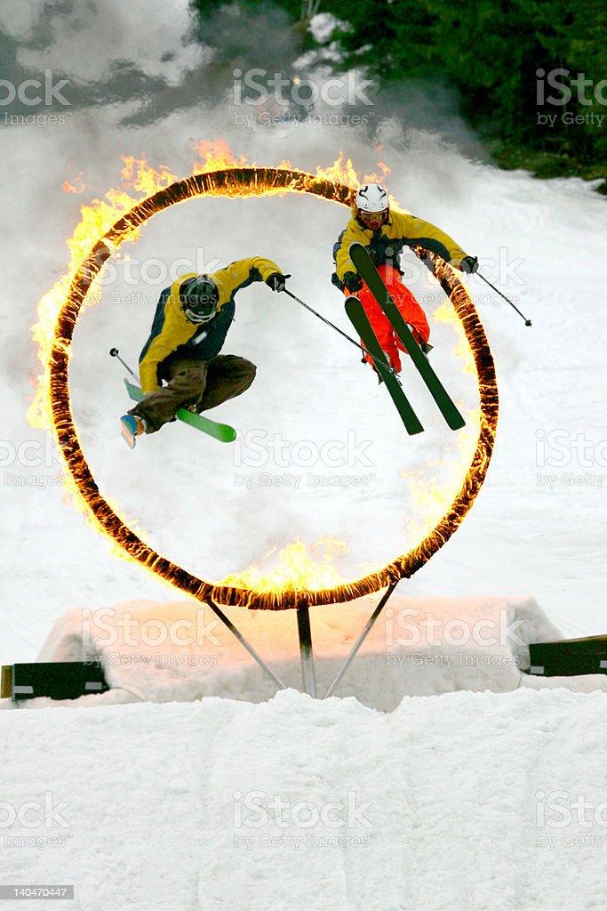 Ski and Fire festival stock photo