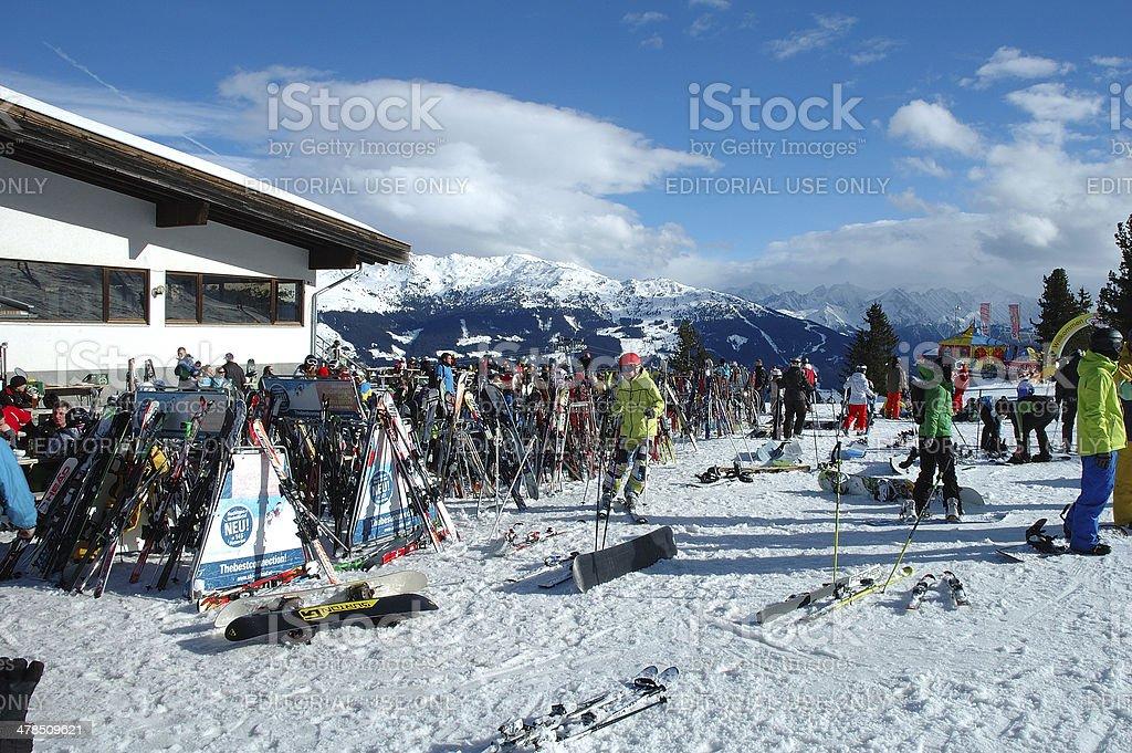 Ski and skiers stock photo