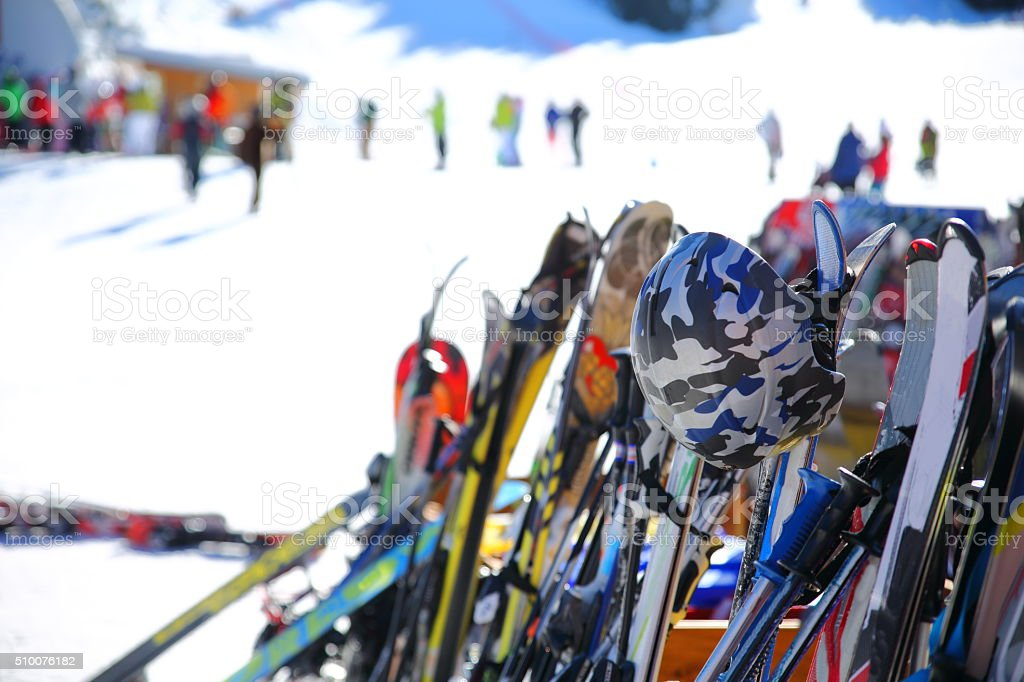 Ski and snowboards stock photo