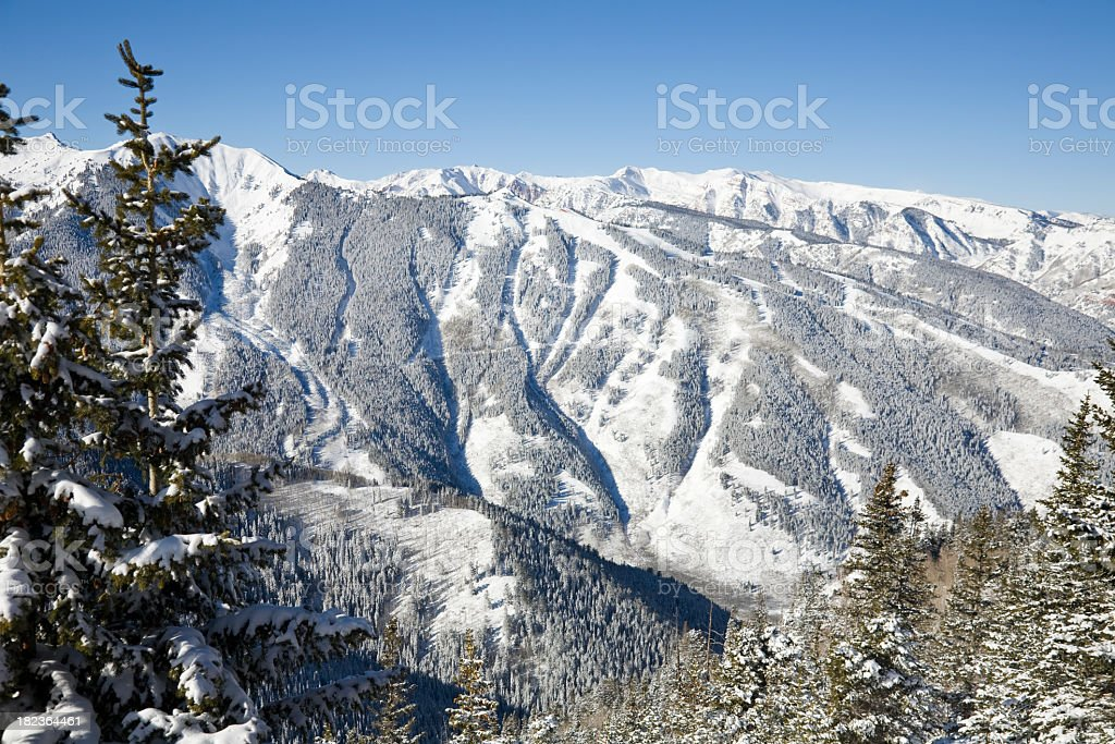 Ski area at the Aspen Highlands stock photo