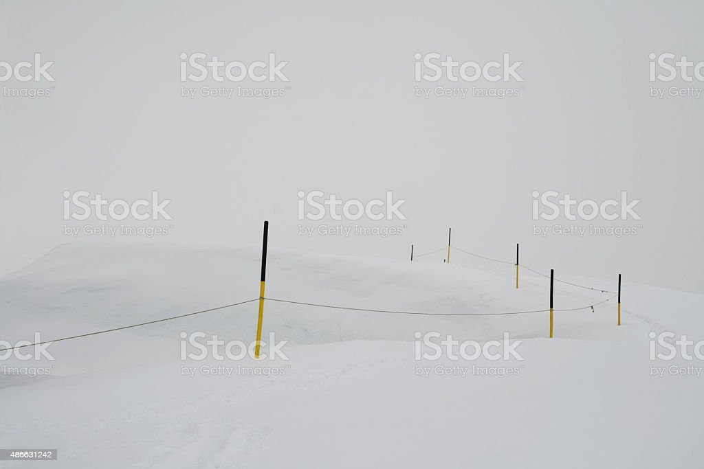 ski area boundary at snow mountains park Titlis stock photo