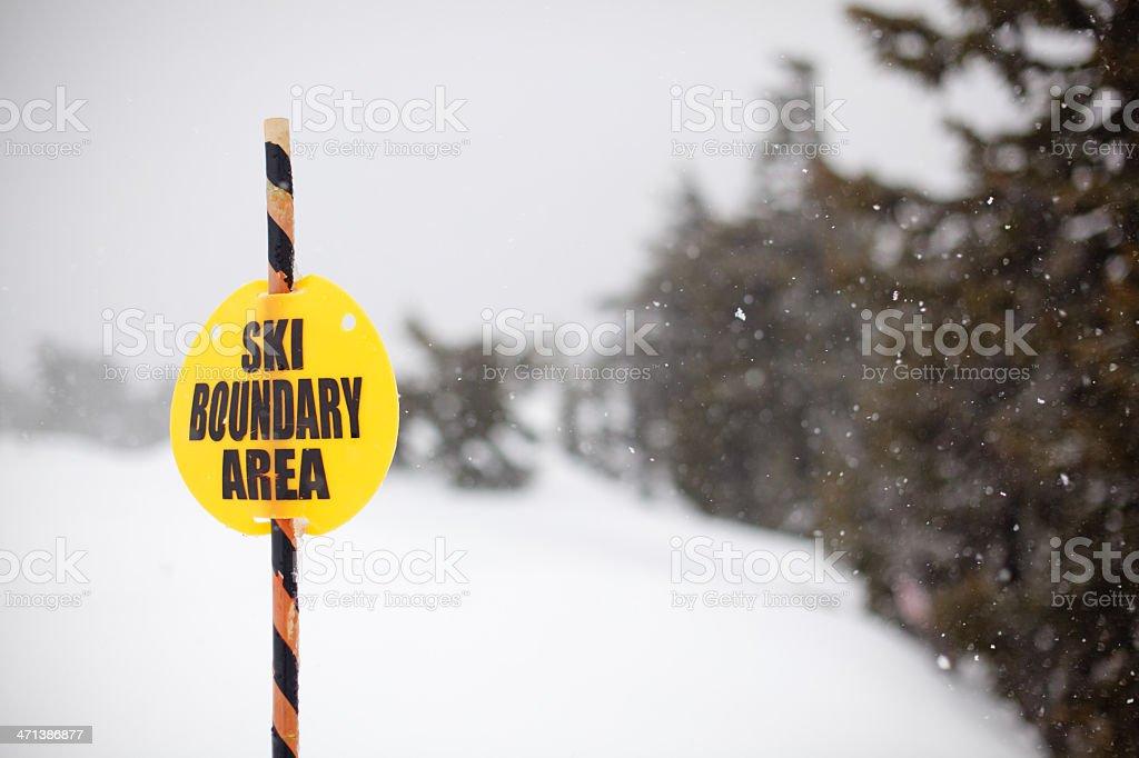 Ski Area Boundary Sign stock photo
