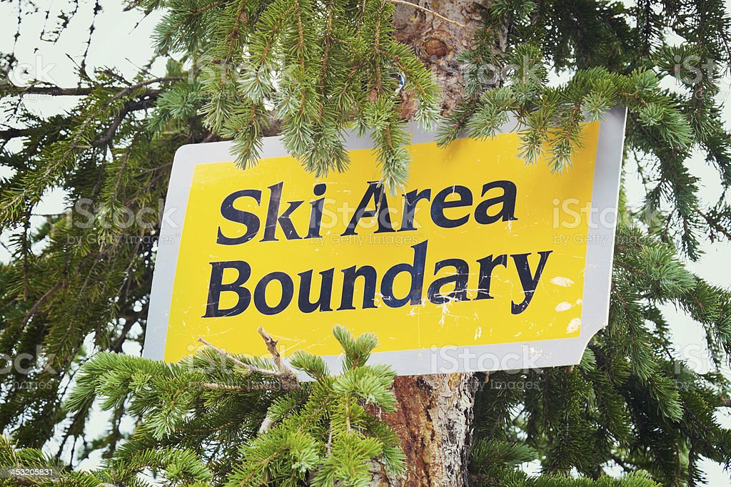 Ski area boundry stock photo