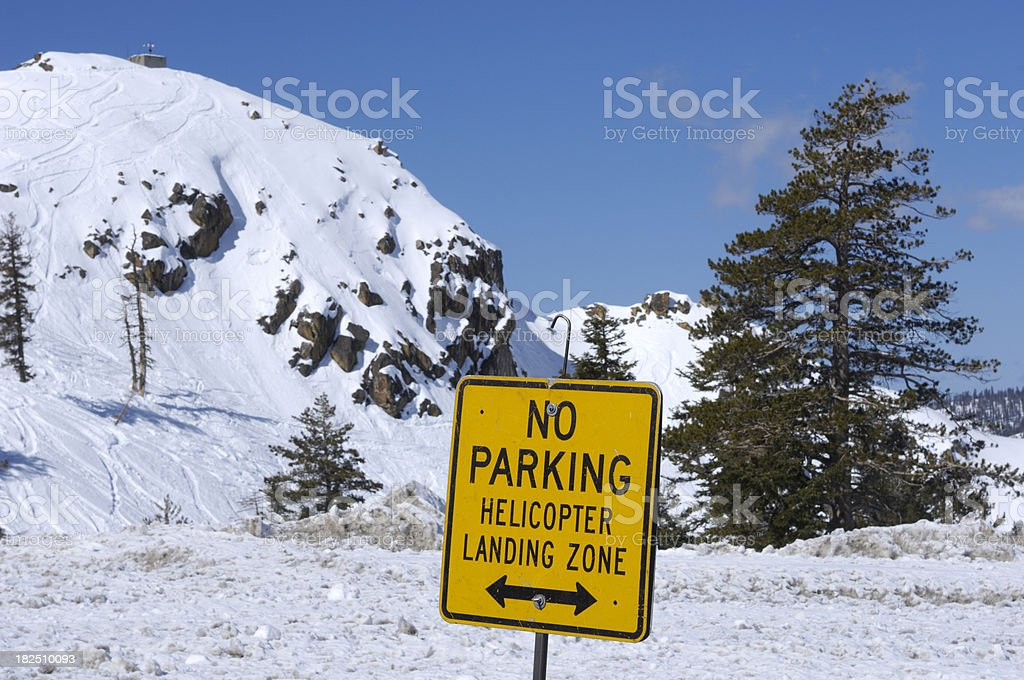 Ski Area Helicopter Warning Sign stock photo