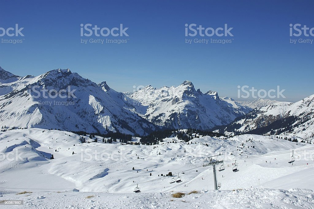 Ski area in the austian alps royalty-free stock photo