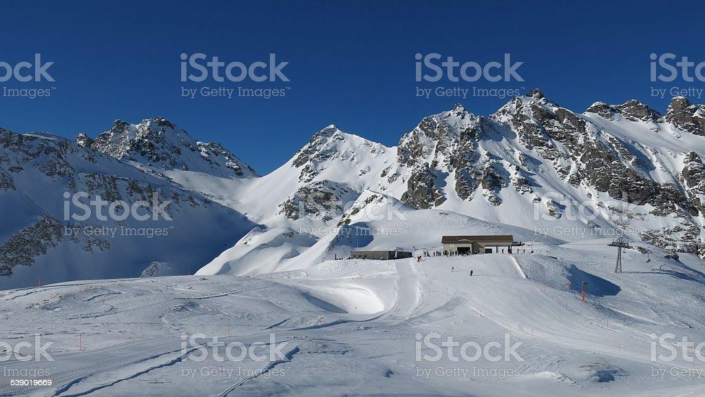 Ski area Pizol stock photo