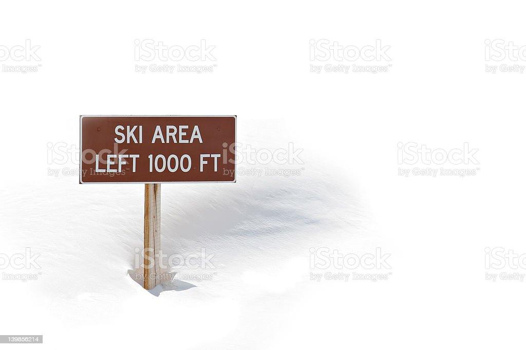ski area sign in snow royalty-free stock photo