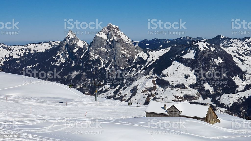 Ski area Stoos and Mt Mythen stock photo