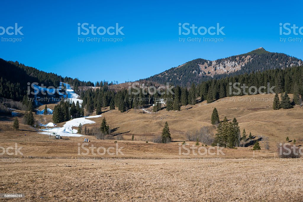 ski area with no snow in January 2017 stock photo