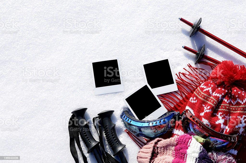 Ski background with blank photo prints royalty-free stock photo