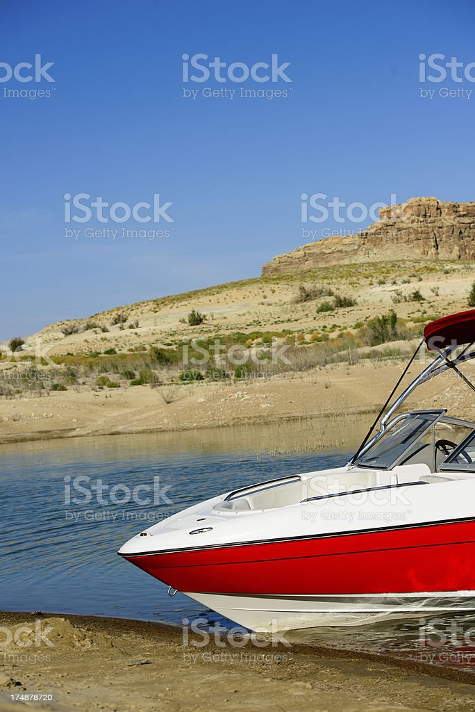 Ski Boat on Lake Powell (Vertical) royalty-free stock photo