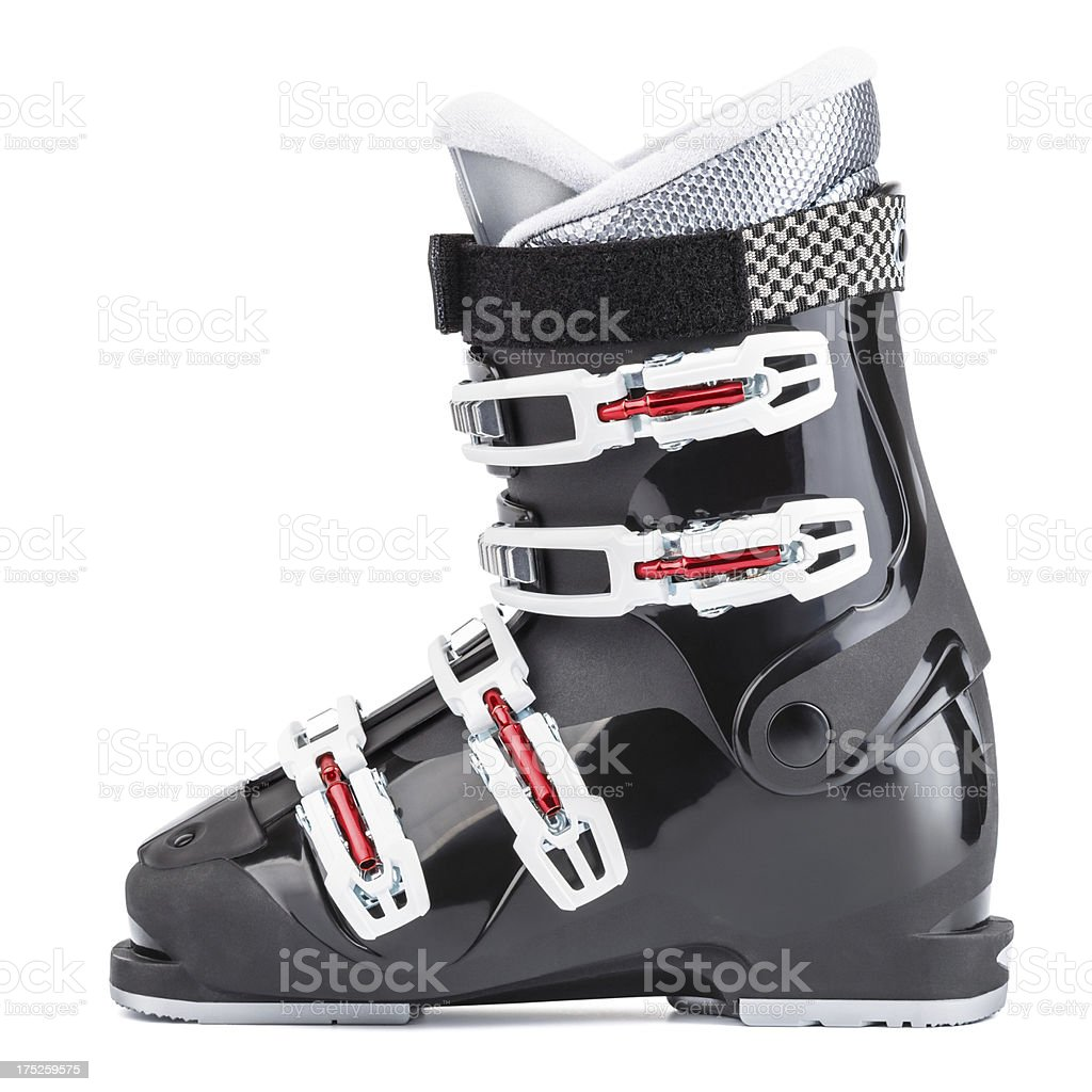 Ski boot, isolated on white background stock photo