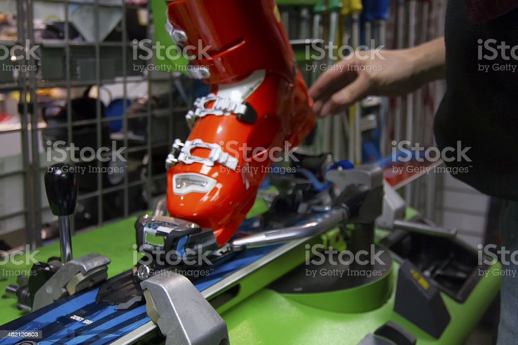 Ski Boot Setup. stock photo