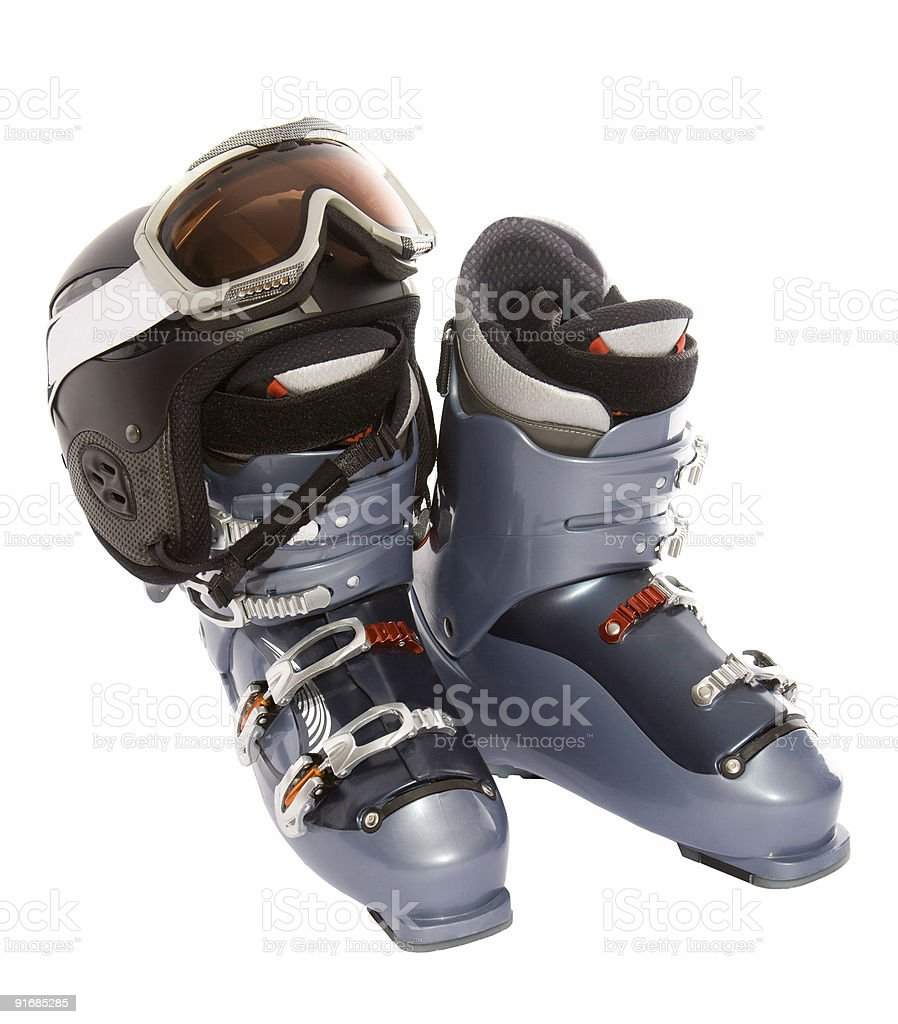 Ski boot's helmet and mask goggles royalty-free stock photo