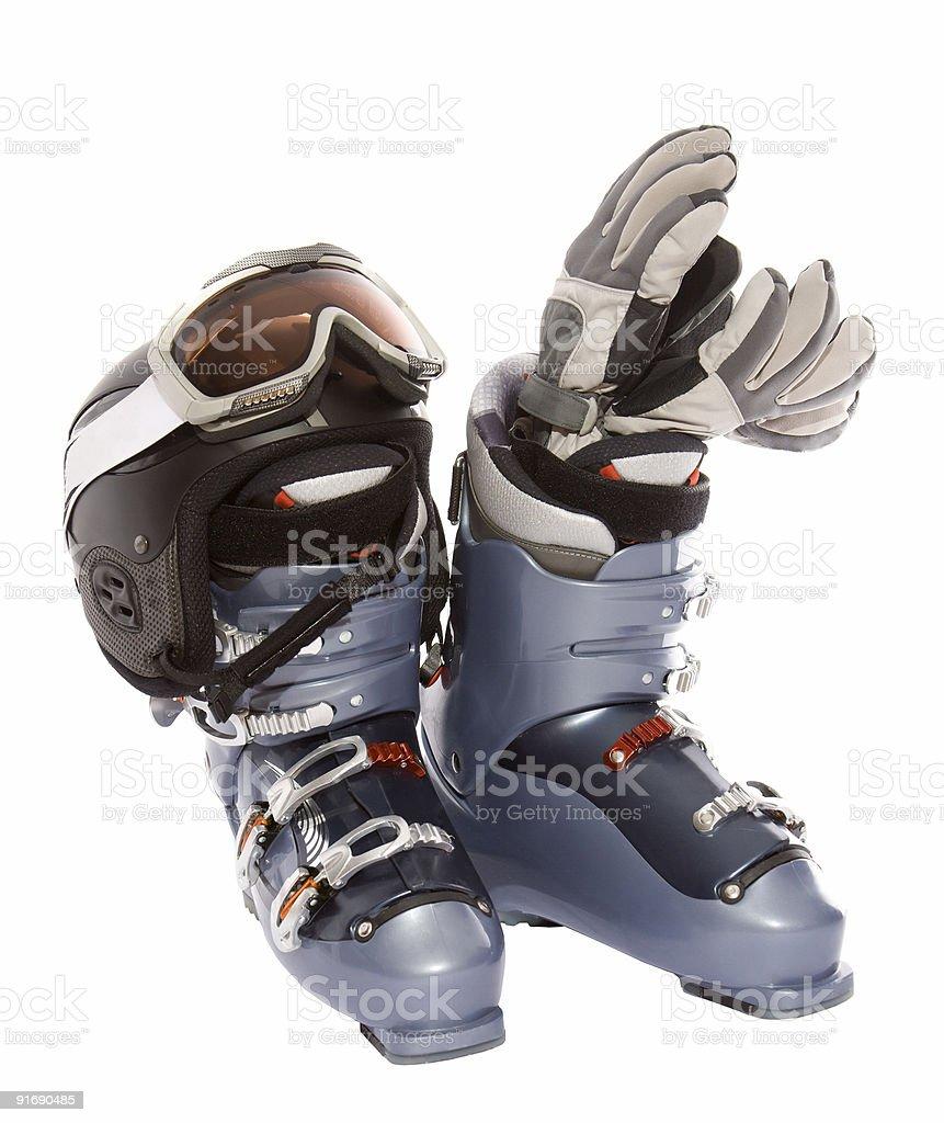 Ski boot's helmet glove and mask goggles stock photo